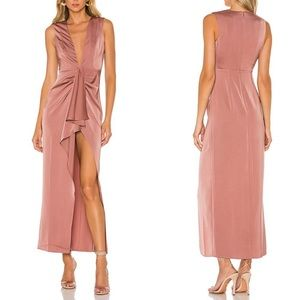 NWT NBD Persephone Mauve Satin High Slit Gown